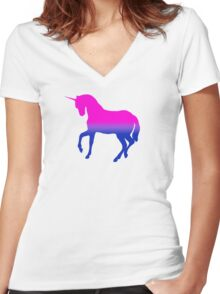 LGBT Bisexual Unicorn Women's Fitted V-Neck T-Shirt