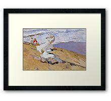 Joaquin Sorolla Y Bastida - Capturing The Moment 1906. Woman portrait: sensual woman, girly art, female style, Sea views, femine, beautiful dress, cute, creativity, love, sea, erotic pose Framed Print