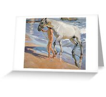 Joaquin Sorolla Y Bastida - The Horse's Bath 1909. Animal portrait: cute cat, horse, race, man hobby, running, Sea views, animal, racing mustang, hunt, sea, sport Greeting Card