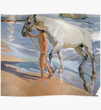 Joaquin Sorolla Y Bastida - The Horse's Bath 1909. Animal portrait: cute cat, horse, race, man hobby, running, Sea views, animal, racing mustang, hunt, sea, sport Poster
