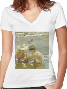 Joaquin Sorolla Y Bastida - The Wounded Foot 1909. Child portrait: cute baby, kid, children, Sea views, child, kids, lovely family, boys and girls, boy and girl, sea, childhood Women's Fitted V-Neck T-Shirt