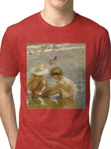 Joaquin Sorolla Y Bastida - The Wounded Foot 1909. Child portrait: cute baby, kid, children, Sea views, child, kids, lovely family, boys and girls, boy and girl, sea, childhood Tri-blend T-Shirt