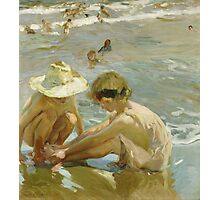 Joaquin Sorolla Y Bastida - The Wounded Foot 1909. Child portrait: cute baby, kid, children, Sea views, child, kids, lovely family, boys and girls, boy and girl, sea, childhood Photographic Print