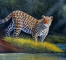 oil paint art designs of Leopard at the river by Mutan