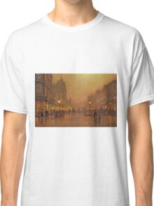 John Atkinson Grimshaw - A Street At Night. Street landscape: city view, streets, building, houses, prospects, cityscape, architecture, roads, travel landmarks, panorama garden, buildings Classic T-Shirt