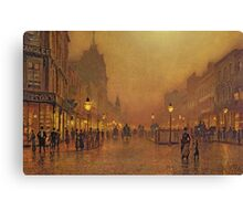 John Atkinson Grimshaw - A Street At Night. Street landscape: city view, streets, building, houses, prospects, cityscape, architecture, roads, travel landmarks, panorama garden, buildings Canvas Print
