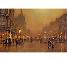 John Atkinson Grimshaw - A Street At Night. Street landscape: city view, streets, building, houses, prospects, cityscape, architecture, roads, travel landmarks, panorama garden, buildings Photographic Print