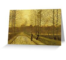 John Atkinson Grimshaw - In The Golden Gloaming. Street landscape: city view, streets, building, houses, prospects, cityscape, architecture, roads, travel landmarks, panorama garden, buildings Greeting Card