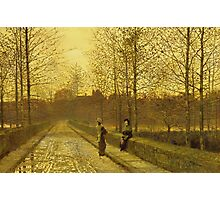 John Atkinson Grimshaw - In The Golden Gloaming. Street landscape: city view, streets, building, houses, prospects, cityscape, architecture, roads, travel landmarks, panorama garden, buildings Photographic Print