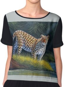 oil paint art designs of Leopard at the river Women's Chiffon Top
