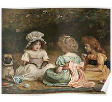 John Everett Millais - Afternoon Tea. Child portrait: cute baby, kid, children, pretty angel, child, kids, lovely family, boys and girls, boy and girl, mom mum mammy mam, childhood Poster