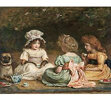 John Everett Millais - Afternoon Tea. Child portrait: cute baby, kid, children, pretty angel, child, kids, lovely family, boys and girls, boy and girl, mom mum mammy mam, childhood Photographic Print