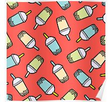 Bubble Tea Pattern in Red Poster