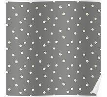 Elderflowers on grey, sparse Poster
