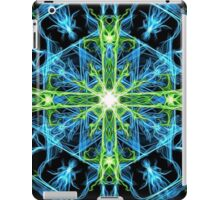 Galactic flame art, cross, green, blue, mandala, cosmic, space, neon, galaxy, nebula, fractal, artwork,  iPad Case/Skin