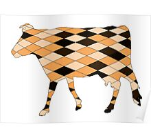 Geometric Cow Poster