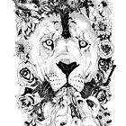 Floral Lion - Fineliner Illustration by InkheartLondon