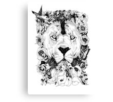 Floral Lion - Fineliner Illustration Canvas Print