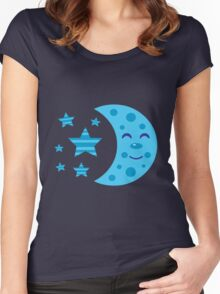 Blue Moon and Striped Stars Women's Fitted Scoop T-Shirt