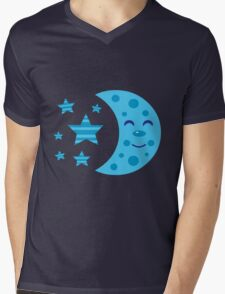 Blue Moon and Striped Stars Mens V-Neck T-Shirt