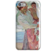 Joaquin Sorolla Y Bastida - After Bathing 1915. Mother with kid portrait: cute girl, mother and daughter, female, Sea views, child, beautiful dress, lovely family, mothers day, memory, sea, baby iPhone Case/Skin