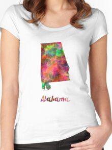 Alabama US state in watercolor Women's Fitted Scoop T-Shirt