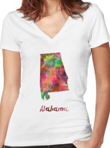 Alabama US state in watercolor Women's Fitted V-Neck T-Shirt