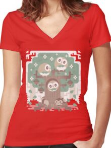 Wood Owl Woods Women's Fitted V-Neck T-Shirt