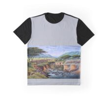 Beautiful art designs of animals crossing Maasai Mara River Graphic T-Shirt