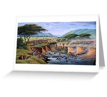 Beautiful art designs of animals crossing Maasai Mara River Greeting Card