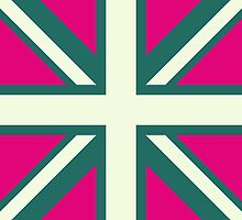 Union Jack Pop Art (White, Green & Pink) by sher00