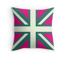 Union Jack Pop Art (White, Green & Pink) Throw Pillow