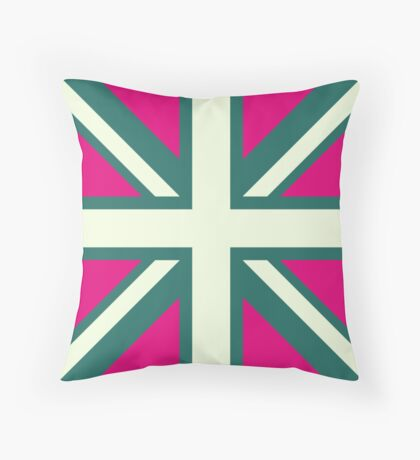 Union Jack Pop Art (White, Green & Pink) Throw Pillow