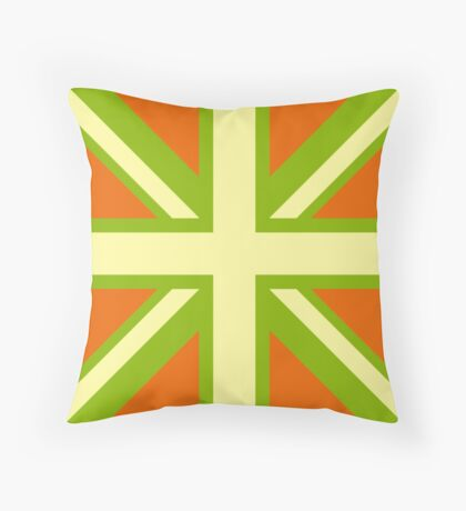 Union Jack Pop Art (Yellow, Green & Brown) Throw Pillow