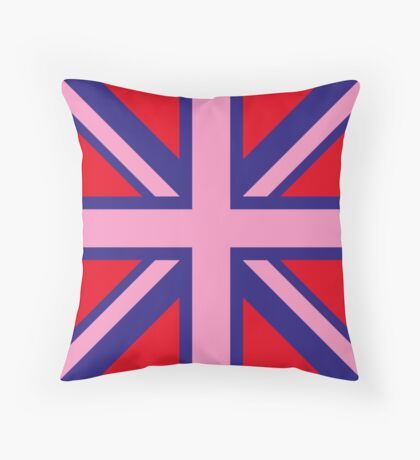 Union Jack Pop Art (Pink, Blue & Red) Throw Pillow