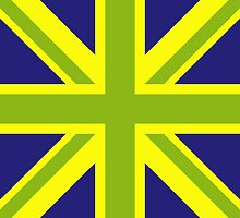 Union Jack Pop Art (Green, Yellow & Blue) by sher00
