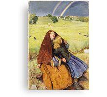 John Everett Millais - The Blind Girl 1854. Girl portrait: cute girl, girly, female, pretty angel, child, beautiful dress, face with hairs, smile, little, kids, baby Canvas Print