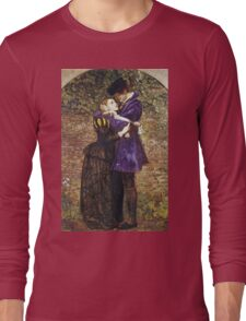 John Everett Millais - The Huguenot. Lovers portrait: sensual woman, woman and man, kiss, kissing lovers, love relations, lovely couple, family, valentine's day, sexy, romance, female and male Long Sleeve T-Shirt