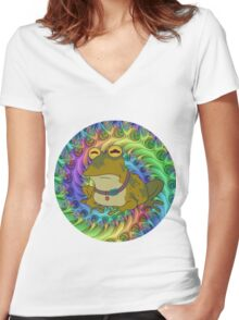 Hypno Toad Trippy Women's Fitted V-Neck T-Shirt