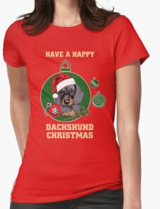 Have A Happy Dachshund Christmas Womens Fitted T-Shirt