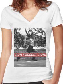 RUN FORREST, RUN! Women's Fitted V-Neck T-Shirt