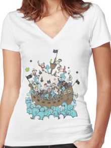 Pirates !! Women's Fitted V-Neck T-Shirt