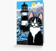 Stormy Waters | Tuxedo Cat & Lighthouse Greeting Card