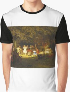 John George Brown - Picnic Party In The Woods. Female child portrait: cute baby, kid, children, pretty angel, child, kids, lovely family, boys and girls, boy and girl, mom mum mammy mam, childhood Graphic T-Shirt