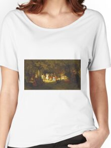John George Brown - Picnic Party In The Woods. Female child portrait: cute baby, kid, children, pretty angel, child, kids, lovely family, boys and girls, boy and girl, mom mum mammy mam, childhood Women's Relaxed Fit T-Shirt