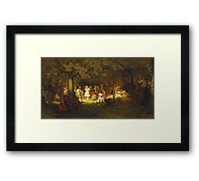 John George Brown - Picnic Party In The Woods. Female child portrait: cute baby, kid, children, pretty angel, child, kids, lovely family, boys and girls, boy and girl, mom mum mammy mam, childhood Framed Print