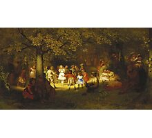 John George Brown - Picnic Party In The Woods. Female child portrait: cute baby, kid, children, pretty angel, child, kids, lovely family, boys and girls, boy and girl, mom mum mammy mam, childhood Photographic Print