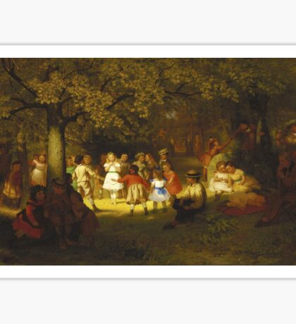 John George Brown - Picnic Party In The Woods. Female child portrait: cute baby, kid, children, pretty angel, child, kids, lovely family, boys and girls, boy and girl, mom mum mammy mam, childhood Sticker