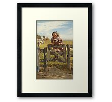 John George Brown - Swinging On A Gate. Female child portrait: cute girl, girly, female, pretty angel, child, beautiful dress, face with hairs, smile, little, kids, baby Framed Print