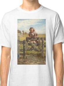 John George Brown - Swinging On A Gate. Female child portrait: cute girl, girly, female, pretty angel, child, beautiful dress, face with hairs, smile, little, kids, baby Classic T-Shirt